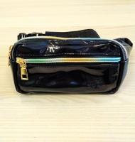 Поясная сумка на пояс малая лакированная черная