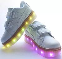Кроссовки со светящейся LED подошвой (белые, 27, липучка Пума)