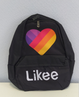 Городской Рюкзак молодежный 3D LIKEE черный с сердцем  АКЦИЯ