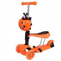 Самокат беговел 3 в 1 Scooter, колеса светятся оранжевый