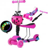 Самокат беговел 3 в 1 Scooter, колеса светятся розовый