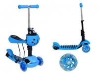 Самокат беговел 3 в 1 Scooter, колеса светятся синий