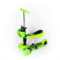 Самокат беговел 3 в 1 Scooter, колеса светятся зеленый