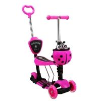 Самокат беговел 5 в 1 Scooter с родительской ручкой, колеса светятся розовый