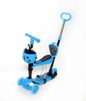 Самокат беговел 5 в 1 Scooter с родительской ручкой, колеса светятся синий