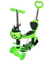 Самокат беговел 5 в 1 Scooter с родительской ручкой, колеса светятся зеленый