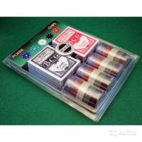 Покерный набор на блистере  (2 колоды + сукно + 200 фишек)