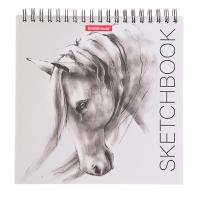 Тетрадь-скетчбук 17 х 17 см, 40 листов на гребне ErichKrause Wild Horse